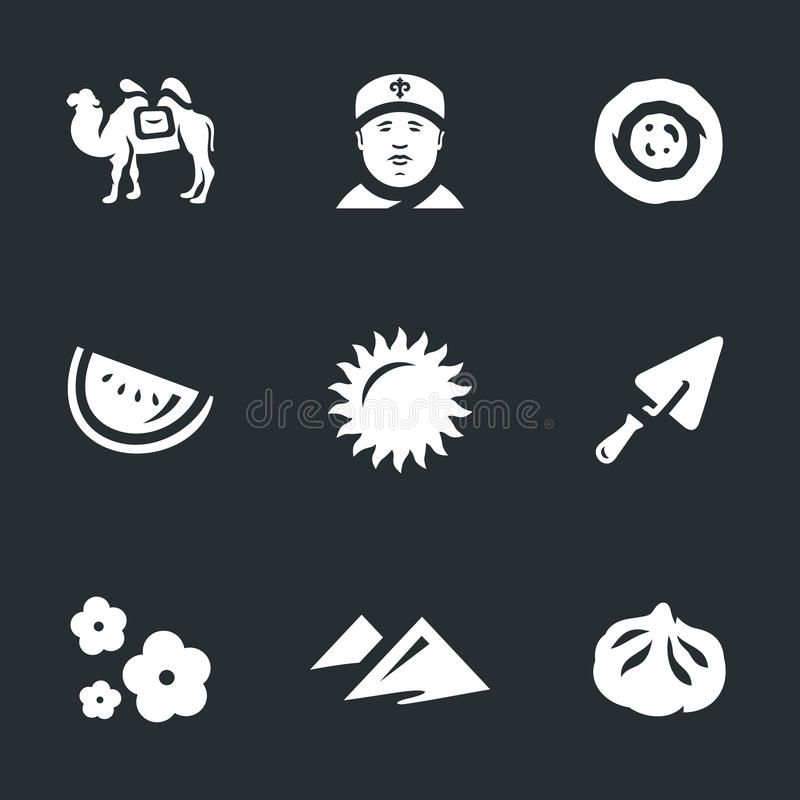 Vektor-Satz Usbekistan-Ikonen lizenzfreie abbildung
