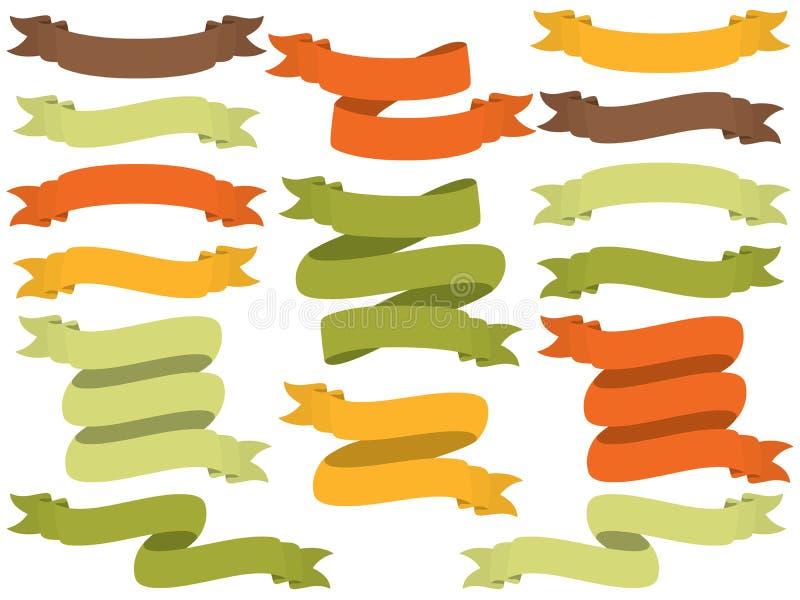 Vektor-Satz von Autumn Ribbons stock abbildung