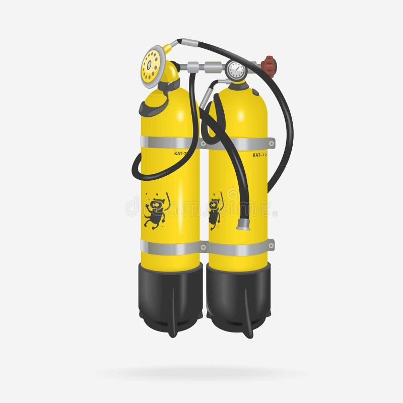 Vektor-Sauerstoff-Flaschen-Tauchen stock abbildung