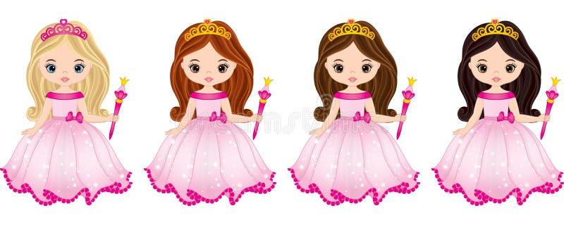 Vektor-schöne Prinzessinnen mit verschiedenen Haar-Farben lizenzfreie abbildung