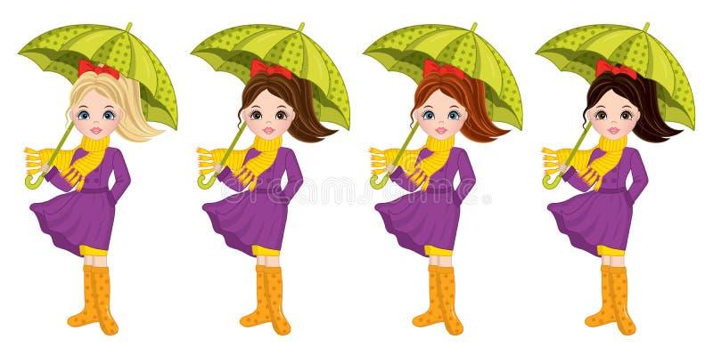 Vektor schöner Autumn Girls mit Regenschirmen stock abbildung