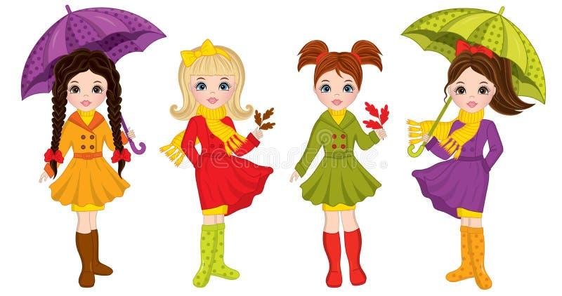 Vektor schöner Autumn Girls mit Regenschirmen und Blättern lizenzfreie abbildung