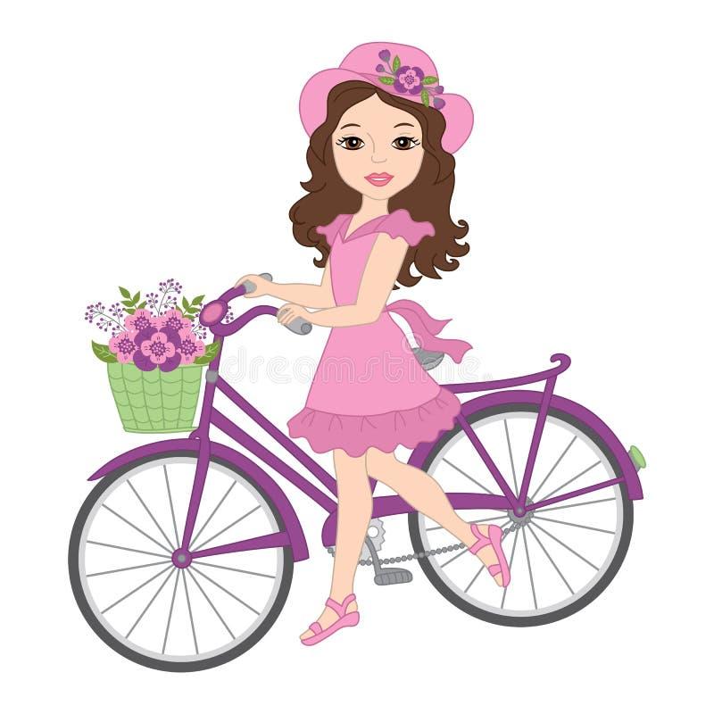 Vektor-schönes Mädchen mit Fahrrad vektor abbildung