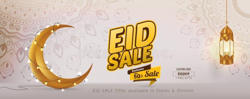 Vektor-Schablonen-Entwurf Eid Sales 50%, Eid Mubarak-Fahne vektor abbildung