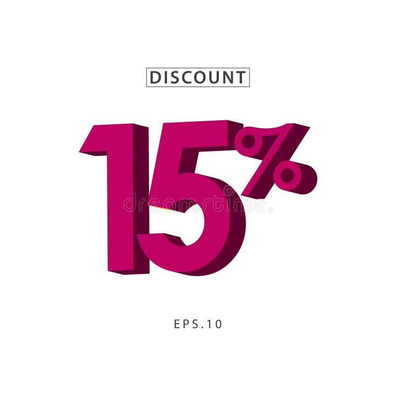 Vektor-Schablonen-Entwurfs-Illustration des Rabatt-15% lizenzfreie abbildung