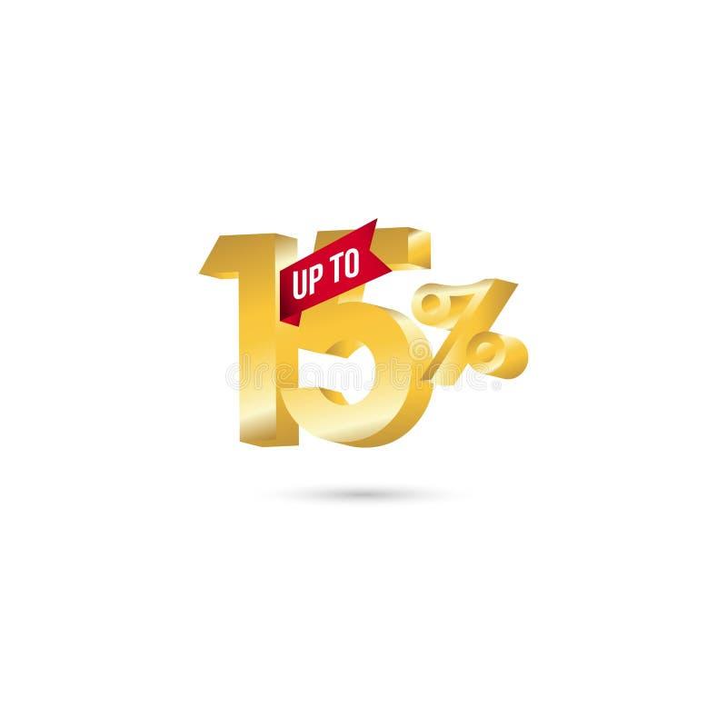 Vektor-Schablonen-Entwurfs-Illustration des Rabatt-bis 15% lizenzfreie abbildung