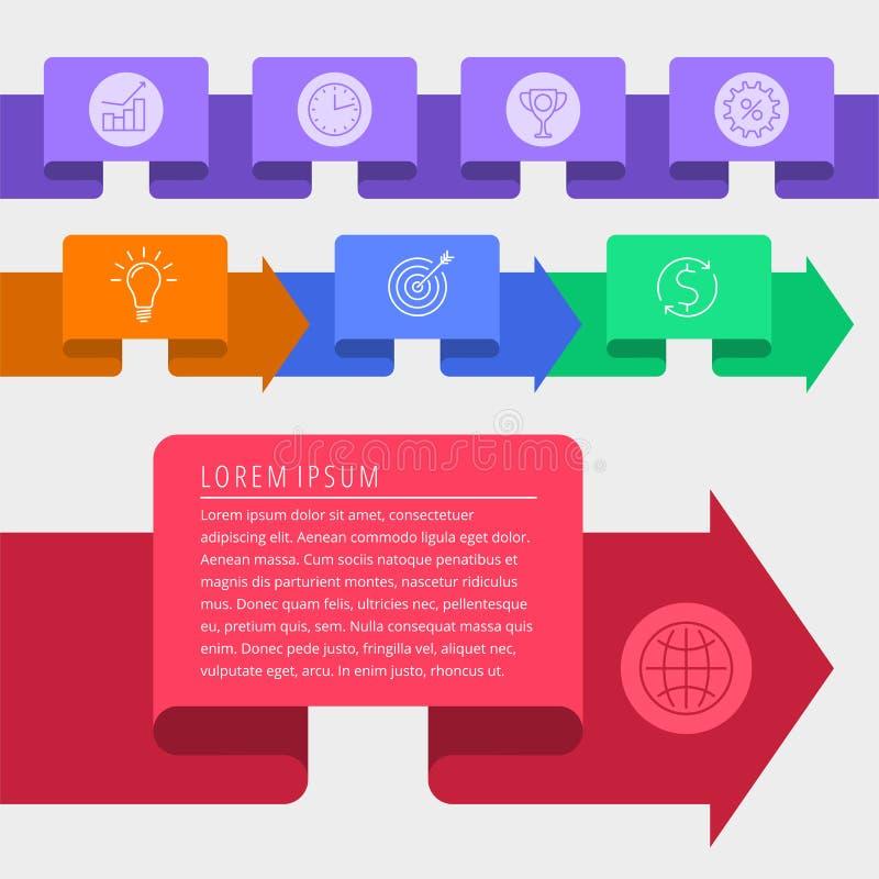 Vektor-Schablonenelemente der Zeitachse infographic Geschäft developm vektor abbildung