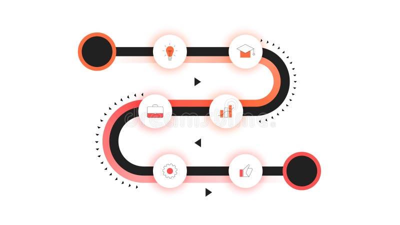 Vektor-Schaltplan, moderne Infographic-Zeitachse mit Neonhintergrundbeleuchtung Schablone für Geschäfts-Darstellung, Jahresberich lizenzfreie abbildung