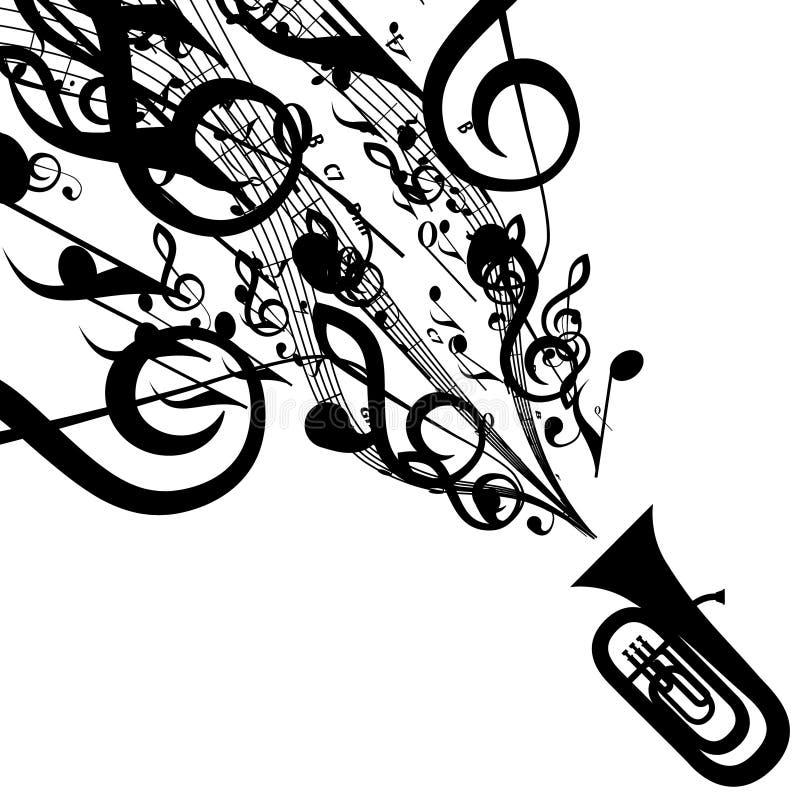 Vektor-Schattenbild der Tuba mit musikalischen Symbolen stock abbildung