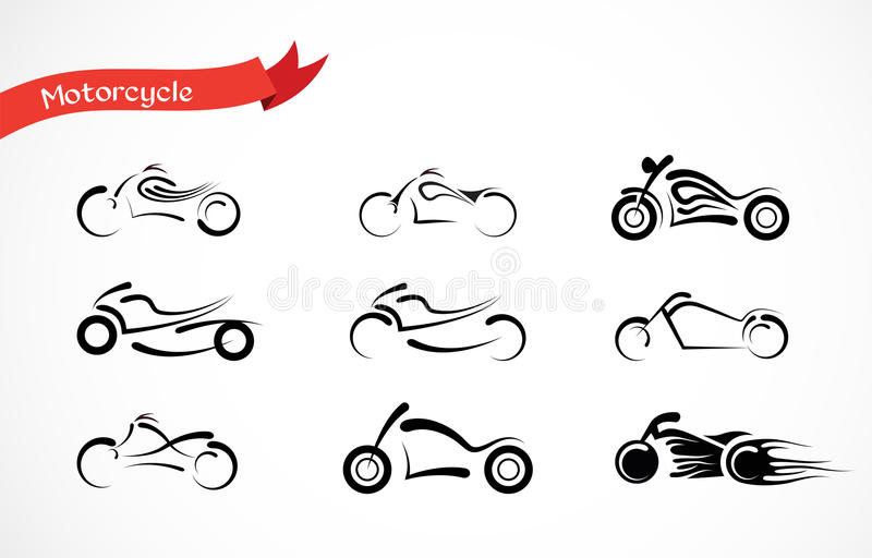 Vektor-Schattenbild des klassischen Motorrades vektor abbildung