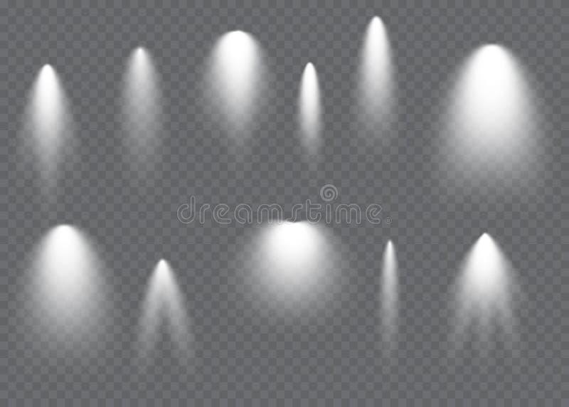 Vektor-Scheinwerfer Lichteffekt Gl?hen lokalisierter wei?er transparenter Lichteffekt Abstraktes Spezialeffektelementdesign lizenzfreie abbildung