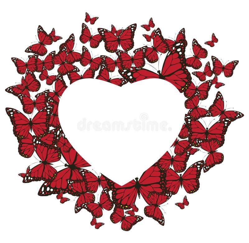 Vektor-Schmetterlings-Herz-Valentinsgruß ` s Hintergrund vektor abbildung