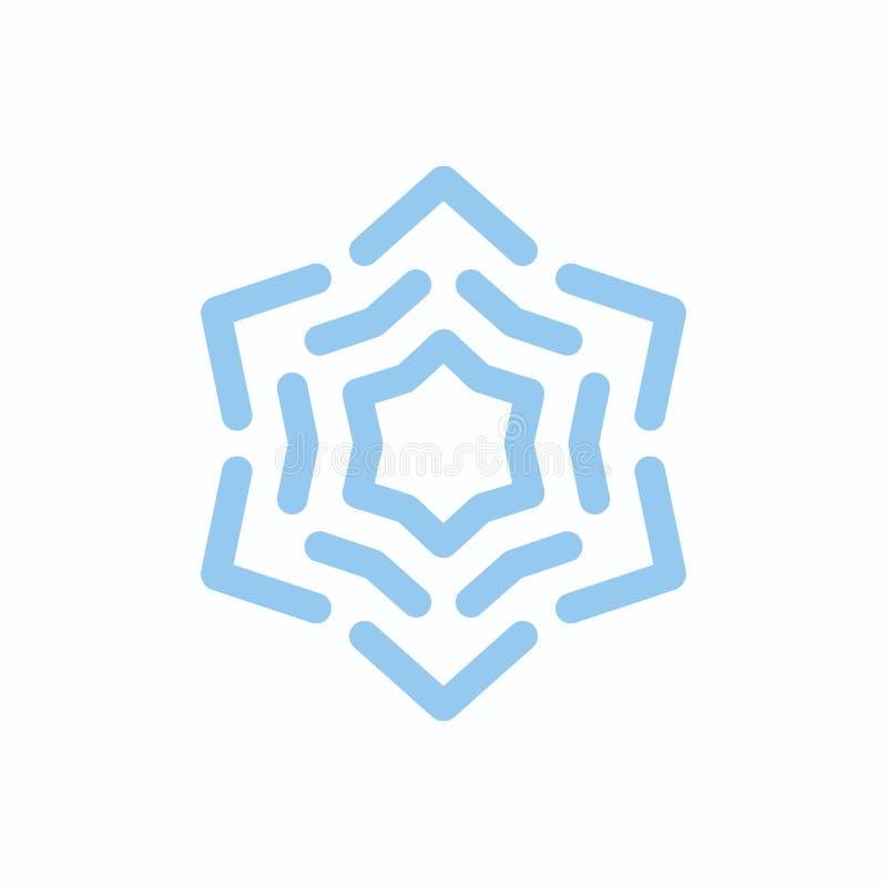 Vektor-Schneeflocken-Blau auf Weiß lokalisiert stock abbildung