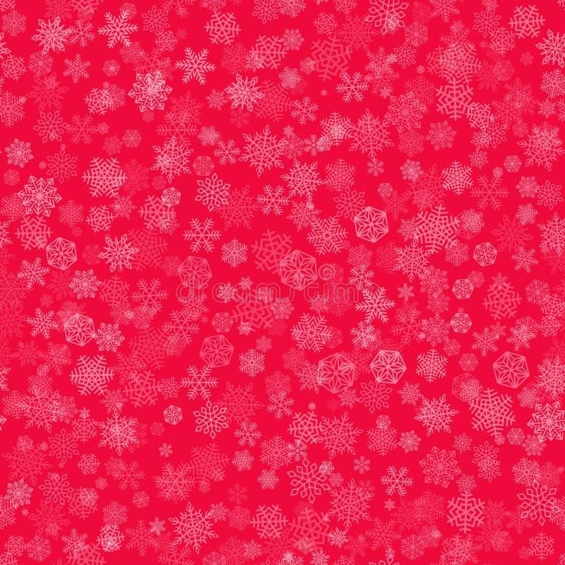 Vektor-Schneeflocken-Hintergrund-Rot lizenzfreie abbildung