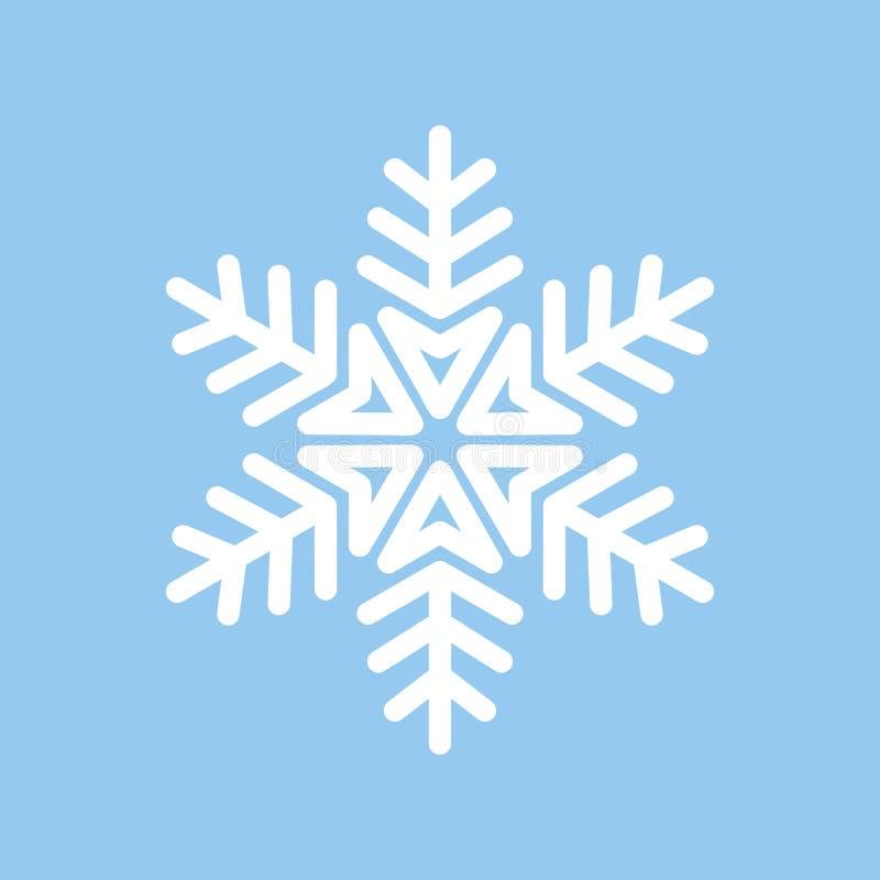 Vektor-Schneeflocken-Weiß auf dem Blau lokalisiert lizenzfreie abbildung