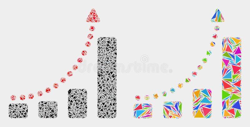 Vektor-schnell wachsende Tendenz-Mosaik-Ikone von Dreiecken stock abbildung