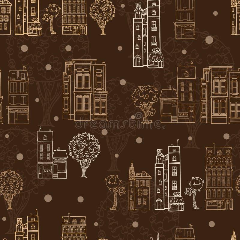 Vektor-schokoladenbraune Reihenhaus-Baum-Straßen, die nahtloses Muster mit Sternen zeichnen Vervollkommnen Sie für themenorientie stock abbildung