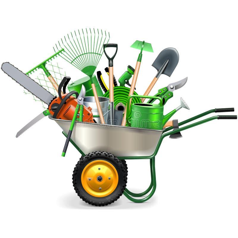 Vektor-Schubkarre mit Garten-Zubehör lizenzfreie abbildung