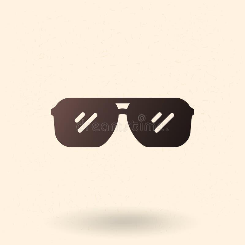 Vektor-schwarze Schattenbild-Ikone - Flieger Style Sunglasses lizenzfreie abbildung