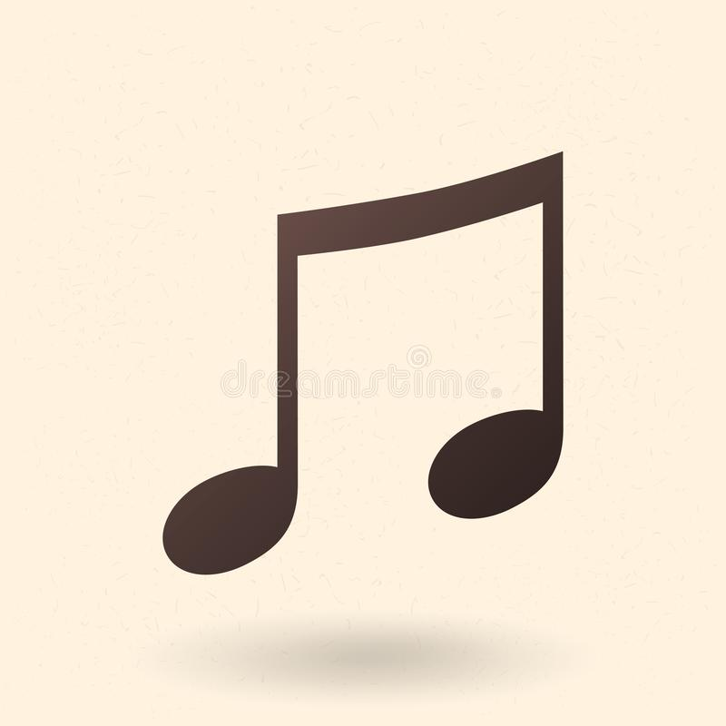 Vektor-schwarze Schattenbild-Ikone - Musik-Anmerkung stock abbildung