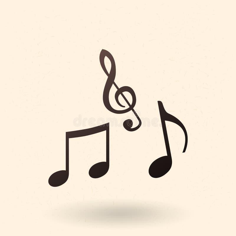 Vektor-schwarze Schattenbild-Ikone - Musik-Anmerkungs-Symbole vektor abbildung