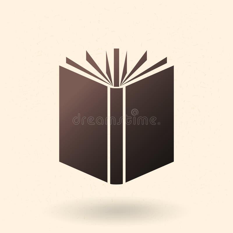 Vektor-schwarze Schattenbild-Ikone - offenes Buch lizenzfreie abbildung