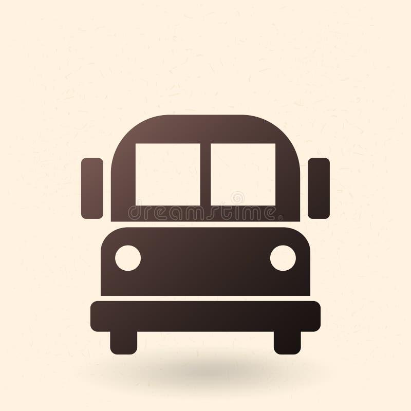 Vektor-schwarze Schattenbild-Ikone - Schulbus stock abbildung