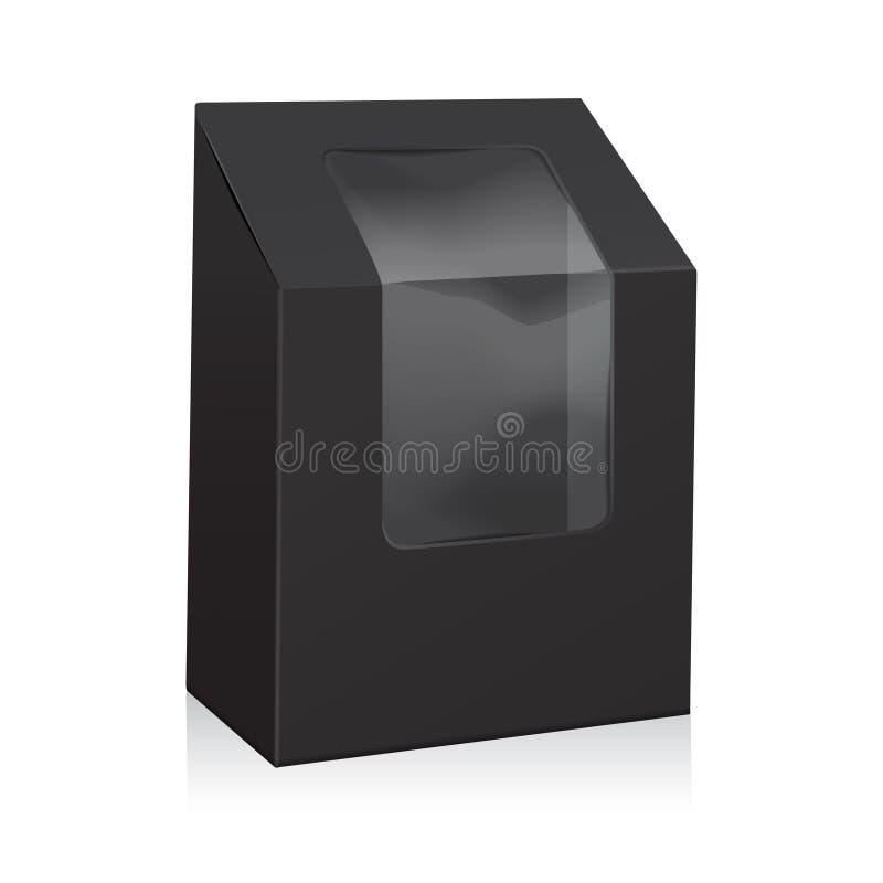 Vektor-schwarzer leerer Pappdreieck-Kasten Nehmen Sie die Kästen weg, die oben Spott für Sandwich, Lebensmittel, Geschenk, andere stock abbildung