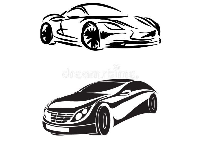 Vektor-schwarzes Auto-Schattenbild vektor abbildung