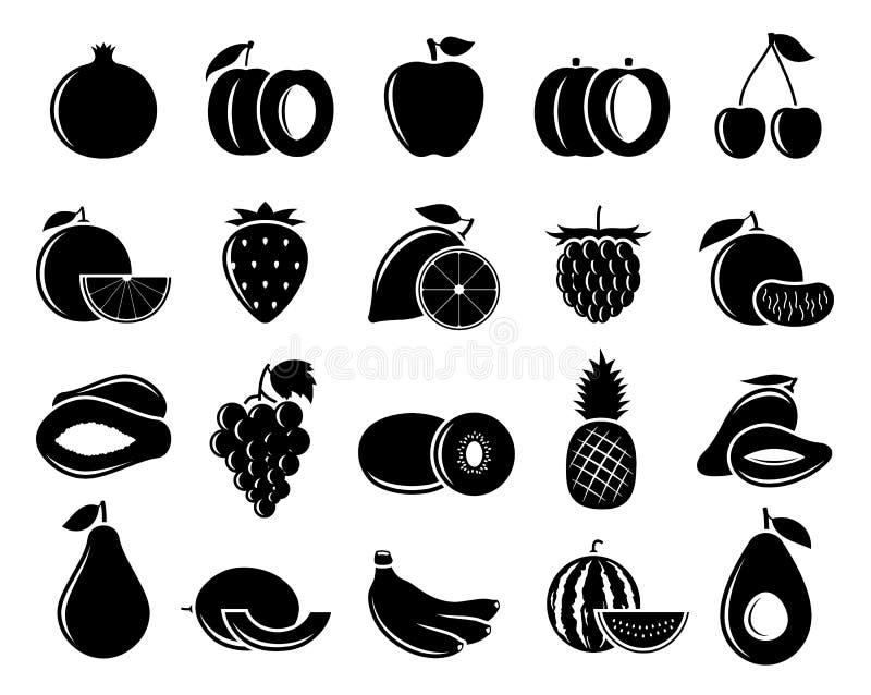 Vektor-Schwarzweiss-Frucht-Ikonen stock abbildung
