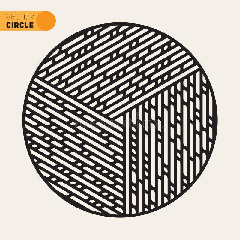 Vektor-Schwarzweiss-Kreis-Linie Muster-Gestaltungselement lizenzfreie abbildung