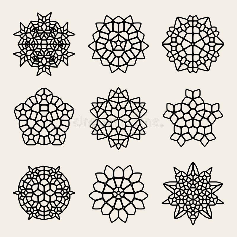 Vektor Schwarzweiss--Mandala Lace Ornaments Collection lizenzfreie abbildung