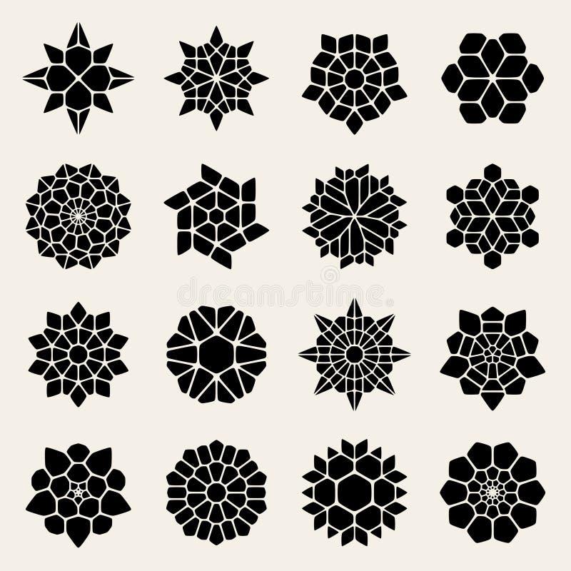 Vektor Schwarzweiss--Mandala Lace Ornaments Collection vektor abbildung