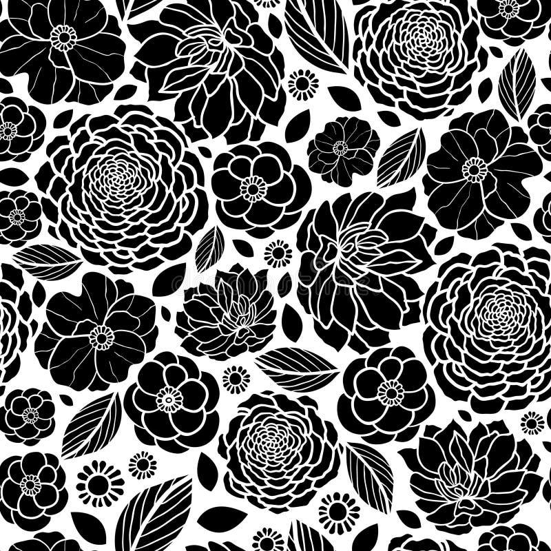 Vektor-Schwarzweiss-Mosaik-Blumen-nahtloses Wiederholungs-Muster-Hintergrund-Design Groß für elegante Hochzeitseinladungen stock abbildung