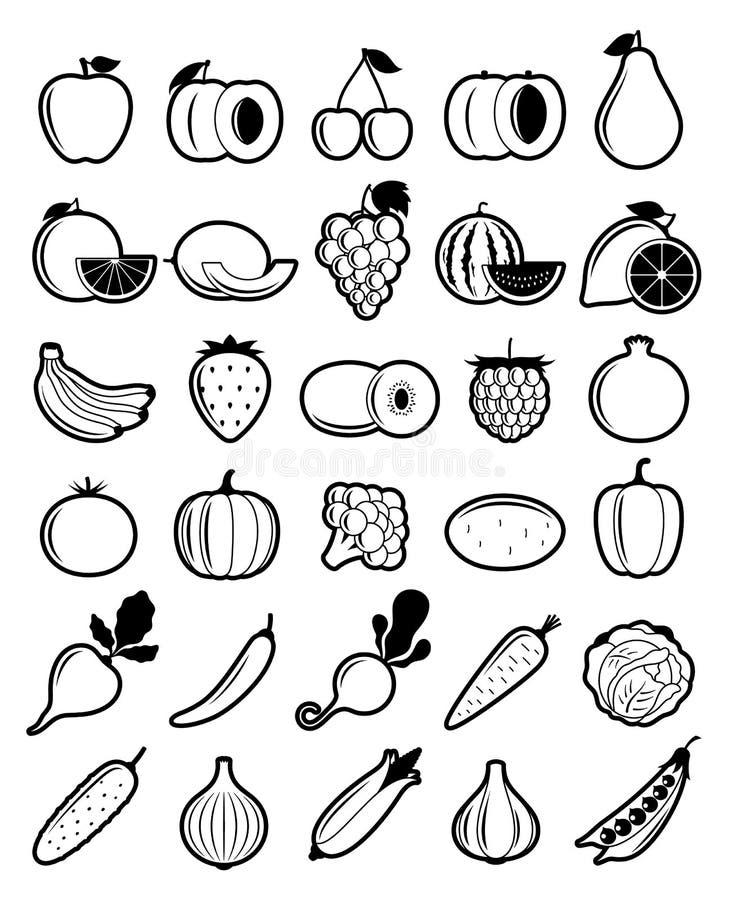 Vektor-Schwarzweiss-Obst- und GemüseIkonen lizenzfreie abbildung