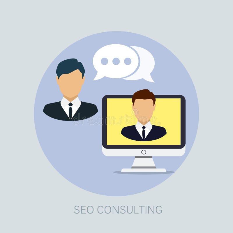 Vektor seo und Web-Entwicklung mit seo Beratungskommunikationsikonen - Betriebsberatung lizenzfreie abbildung