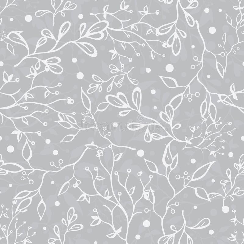 Vektor silbernes Grey Tree Braches Texture Seamless vektor abbildung