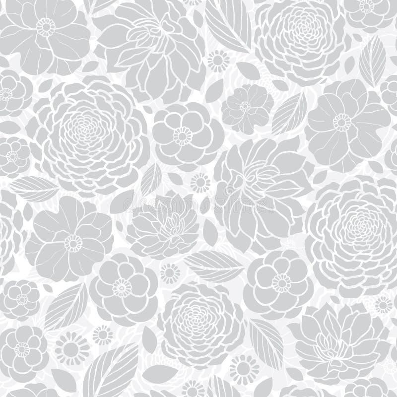 Vektor-silbernes Grey White Mosaic Flowers Seamless-Wiederholungs-Muster-Hintergrund-Design Groß für elegante Hochzeitseinladunge stock abbildung