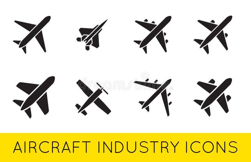 Vektor SilhouetteSet för samling för flygplan- eller flygplansymboler fastställd vektor illustrationer