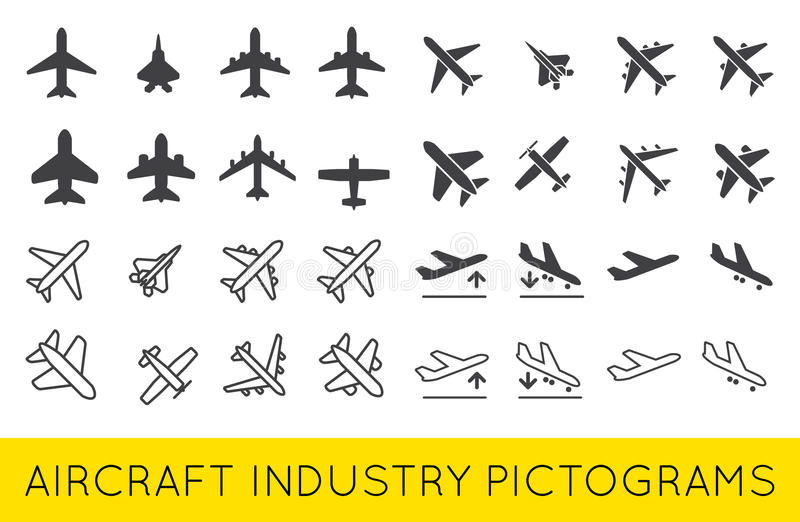 Vektor SilhouetteSet för samling för flygplan- eller flygplansymboler fastställd stock illustrationer