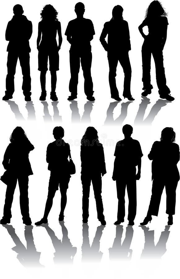 Vektor silhouettiert Mann und Frauen stockfotos