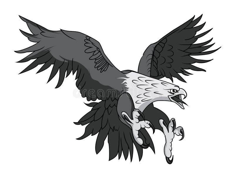 Vektor skalliga Eagle eller Hawk Head Mascot Graphic royaltyfri illustrationer