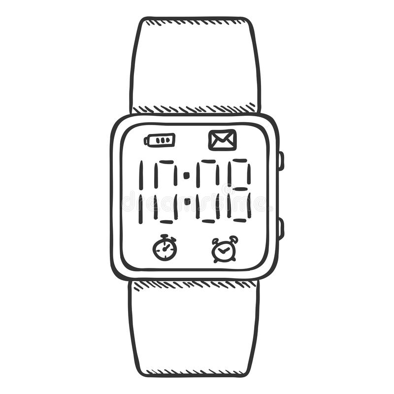 Armbanduhr skizze  Vektor-Skizzen-moderne Digital-Armbanduhr Stock Abbildung - Bild ...