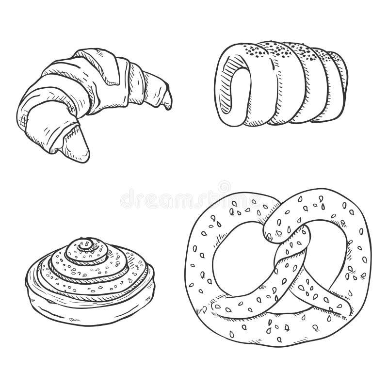 Vektor-Skizzen-Satz neue gebackene Gebäck-Einzelteile Nachtische und Snäcke vektor abbildung