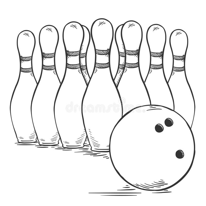 Vektor-Skizzen-Satz von Bowlingspiel-Kegeln und Ball vektor abbildung