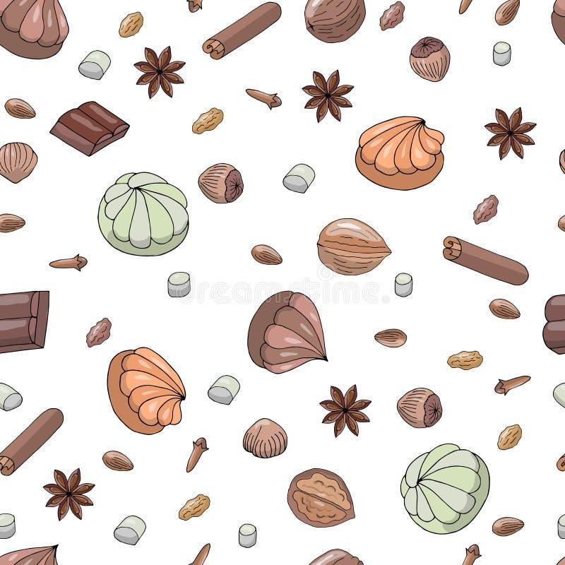 Vektor Skizzenzeichnungen Nahtloses Muster mit Eibischen, Schokolade und Kräutern Zimt, Sternanis, Walnuss, Haselnuss, Mandeln lizenzfreie abbildung