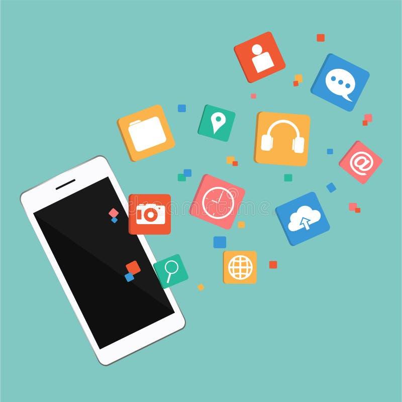 Vektor Smartphone med den Digital marknadsföringen stock illustrationer