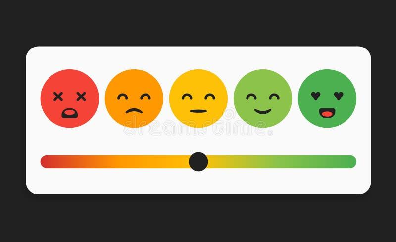 Vektor Smiley Faces für Bewertungs-oder Bericht-, des Feedback-Rate Emoticon, des Gefühl-Lächelns, der Klassifizierungs-Stange, S lizenzfreie abbildung
