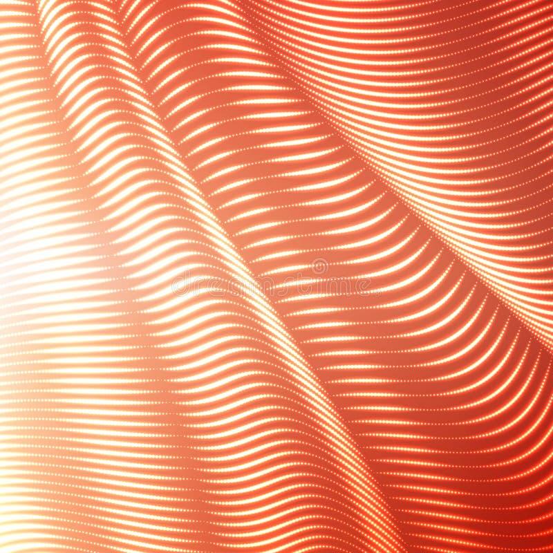 Vektor snedvred prack linjer bakgrund Böjliga band av skinande punkter som vrids som silke som bildar volymetriska veck vektor illustrationer