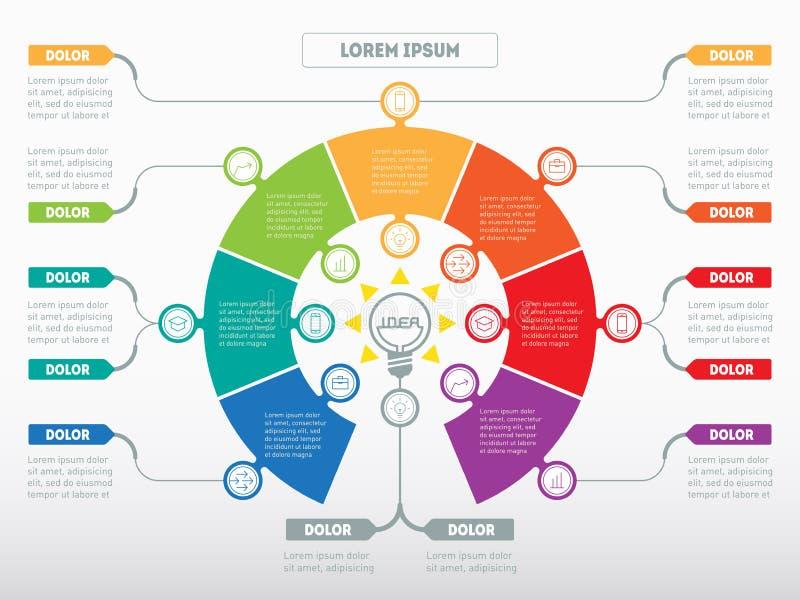 Vektor som är infographic av teknologi- eller utbildningsprocess Affär royaltyfri illustrationer
